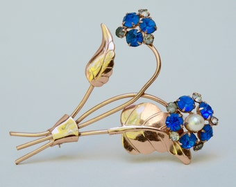 Antique Rhinestone Pin Flower . Blue Glass