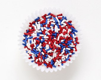 Red, White and Blue Jimmies, Patriotic Sprinkles, 4th of July Cupcake Sprinkles (4 ounces)