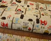 Baby Quilt-Rustic Woodland-Baby Boy Blanket-Camping-Fox-Hedgehog-Raccoon-Owl-Beaver