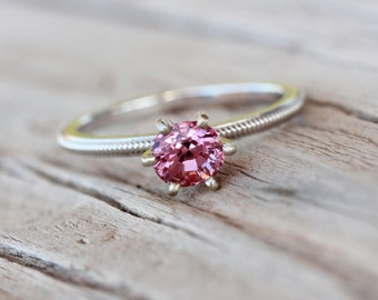 Romantic Pink Spinel Engagement Ring 14k White Gold Migraine Detail Traditional 6 Prong Bridal Band Sparkly Bright Gemstone - Blush Twinkle
