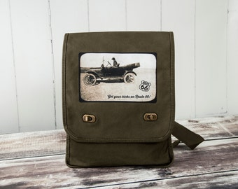 Get Your Kicks on Route 66 - Driving Labrador Retriever - Vintage Photograph - Khaki Green Messenger Bag - Field Bag - Canvas Bag