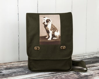 American Bulldog - Messenger Bag - Field Bag - School Bag - Khaki Green - Canvas Bag