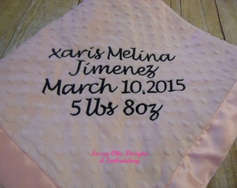 Baby Girl Minky Blanket/Baby Boy Minky Blanket/Personalized Baby Boy Blanket/Personalized Baby Girl Blanket/Birth Announcement Blanket