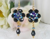 Woven Dangle Earrings Jet Black with ABx2 Crystal