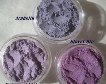 Purple Eye Shadows Makeup Gift 6 Piece Set /Cruelty-free/Loose Pigments/Vegan Mineral EyeShadows/Gift Makeup/Mom's Gift