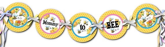 Baby Shower Banner, Party Bunting, Decoration, Mommy to Bee, Little Baby Bees, Pink, Blue, Yellow Bee Hive Design