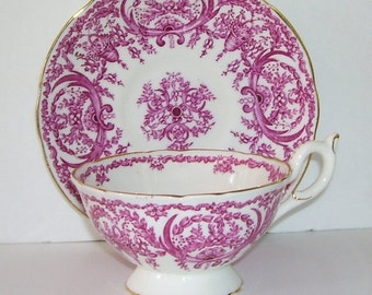 Coalporte China Tea Cup and Saucer,  Pink color with Gold Trim, Made in England, English Tea Time, English Wedding, Studio Line , Elegant
