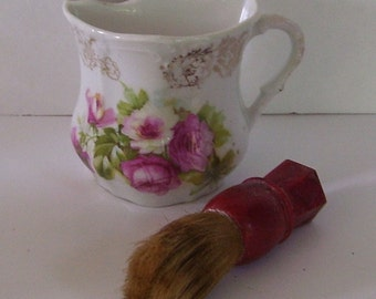 Porcelain Men's Mustache Cup with Red Handle Shaving Cream Brush, Floral Pattern, Vanity Set, Men's Shaving Set, Vanity Decor, Great Gatsby