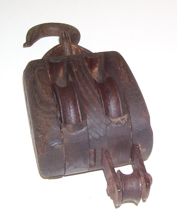 Antique double wood pulley small pulley block and tackle for Uses for old pulleys