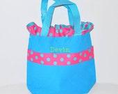 Light Blue Personalized Pink Polk Dot Bag with Name Embroidered on it, Ruffle light blue Ribbon Tote Bag. Dance Bag, Easter Basket Bag