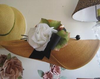 FREE SHIPPING 1930's Leghorn Straw Wide Brim Wedding/Garden Party Hat