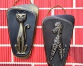 Mid Century Siamese and Poodle Pair of Metal Wall Plaques