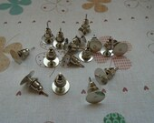 Earring Post-- 100pcs white K color Stud Earnuts and 8mm flat pad-- Earring post with back stoppers