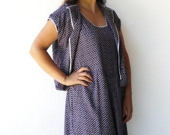 Vintage Feedsack Style Dress / Dress and Bolero Set / Size XL