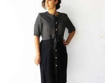 Vintage Two Tone Dress / Button Up Dress / Size L