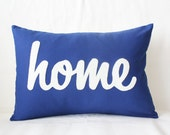 Home Pillow in Marine Blue - Ready to Ship - Lower Cost - Decorative Throw Pillow