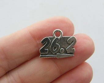 6 Marathon 26.2 miles charms antique silver tone SP63
