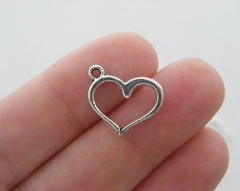 BULK 50 Heart charms ( double sided ) 16 x 12.5mm antique silver tone H111
