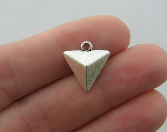 BULK 50 Triangle charms antique silver tone P283