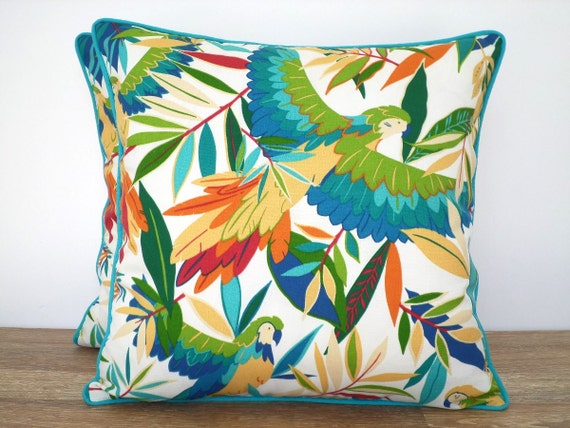 Tropical throw pillow cover outdoor fabric teal by anitascasa - Fabric for throw pillows ...