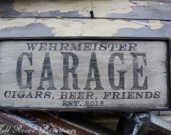 Personalized Primitive Wooden GARAGE Sign