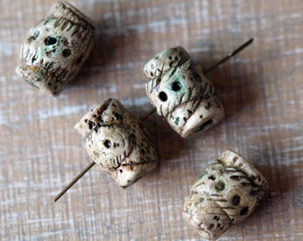 Polymer Clay Beads - Handmade Art Beads - Rustic Barrel Beads - Primitive Beads - Fossil  - Bead Soup Beads