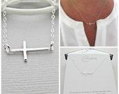 silver sideways cross Necklace, silver cross Necklace, sideways cross Necklace, silver cross Necklace, sideway cross Necklace