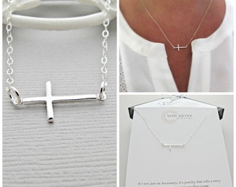 silver sideways cross Necklace, silver cross Necklace, sideways cross Necklace, silver cross Necklace, sideway cross Necklace