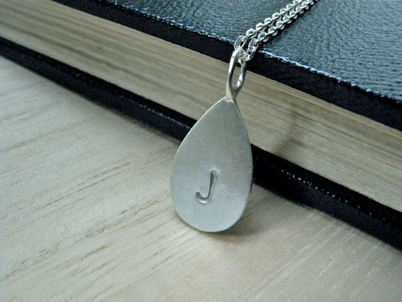 Initial J hand stamped silver disc necklace - Personalized jewelry teardrop necklace - Birthday gift idea valentines day gift for her