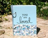 Baby Album or Baby Book for a Newborn or Adopted Baby- Writing Prompts for Celebrating Milestones in Pale Blue Linen