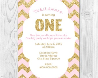 ONE First Birthday Digital Invitation Gold Glitter and PInk Chevron 4x6 or 5x7