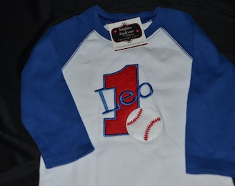 1st Birthday Shirt Baseball, number 1 and name Leo. Size 12 mo. Raglan Long Sleeve - All Sales Final AS IS  Clearance Sale!!