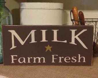 Farmhouse Decor,Primitive Decor, Fresh Milk Sign, Kitchen Sign, Primitive Wood Sign, Rustic Decor, Country Kitchen Sign, Rustic Farmhouse