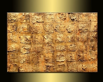 Original Rich Texture metallic Gold Abstract Modern Painting Contemporary Fine Art by Henry Parsinia Large 36x24