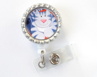 Gray Kitty Cat - Retractable ID Badge Reel - Animal Badge Holder - Vet Badge Reel - Nurse Badge Holder - Nursing Badge Clip - Teacher Badge