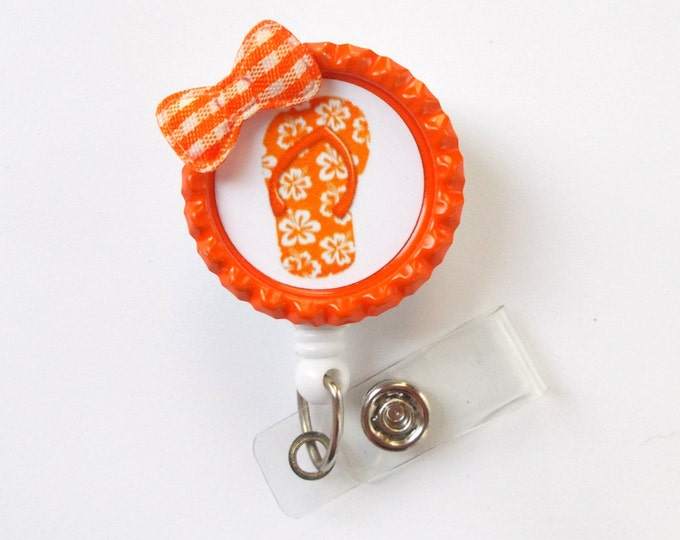 Flip Flop Orange - Retractable ID Badge Reel - Name Tag Badge - Cute ID Badge Reel - Nurse Badge Clip - Pediatric Badge - Teacher ID Badge