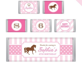 Pony Party / Horse Party - Personalized DIY printable Hershey bar labels