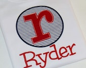 Boys Appliqued White Shirt... Short or Long Sleeve... Navy Blue Striped Seersucker, Red Letter... Personalized with Name, Initial