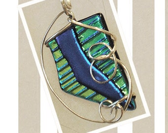 Silver  Wire Wrapped Dichroic  Glass Pendant Hand Made Kiln Fired