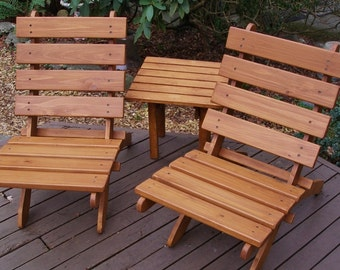 two cedar chairs side table set for outdoor comfort deck and garden furniture