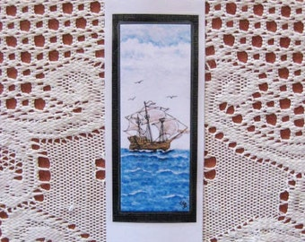 Bookmark Old Ship -  Hand made from artist Original Watercolor Print - Ocean Sea - Laminated