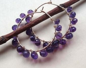 Purple beaded hoop earrings, purple gemstone hoop earrings, purple and gold wire wrapped hoops amethyst hoop earrings amethyst wrapped hoops