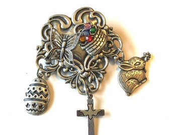 Vintage Style EASTER Silver Brooch Rhinestones Art Deco Nouveau Heart Bunny Basket Cross Dove Charms Christian Jewelry