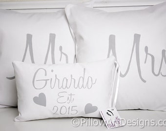 Wedding Pillow Set Mr and Mrs with Personalized Name Pillow White Cotton Made in Canada