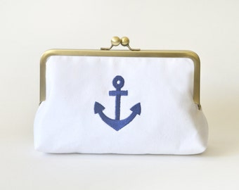 Bridesmaid Gift - Embroidered Anchor Clutch Purse Bag - Bridesmaid Gift Wedding - Wedding Fashion - Kisslock by Lolis Creations