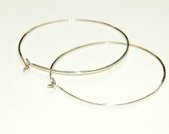 Sterling Silver Hoop Earrings - Hammered Sterling Silver - Medium Hoops - Simple Earrings