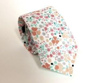 Mint & Peach Mini Floral Tie - Men's Necktie - Green Pink White Grey Orange - In Stock