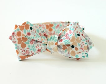Mint & Peach Mini Floral Bow Tie - Men's Bowtie - Green Pink White Grey floral tie Freestyle Butterfly or Diamond Point Bowtie - Adjustable