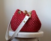 Vintage 1960s Red Bag Woven Bag Mod Purse Womens Red Woven Purse 60s Bag