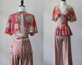 Vintage Hippie Clothes 1970s Hippie Clothing 1970s Outfit Palazzo Pants and Halter Top Floral Hippie Outfit Womens Size Extra Small to Small